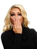 De verraste Vrouw van de Blonde Stock Foto