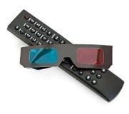 De verre 3D glazen van TV Stock Foto