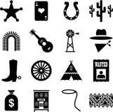 De verre pictogrammen van het Westen stock illustratie