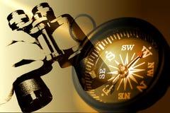 De Verrekijkers en het Kompas van de Holding van de hand in Sepia Tonen Stock Foto