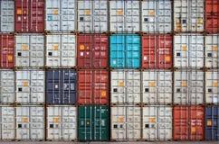 De verrichting van de container in haven stock fotografie