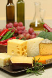 De verscheidenheden van de kaas Stock Foto's