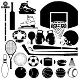 De verscheidenheid van de sportuitrusting Stock Afbeeldingen
