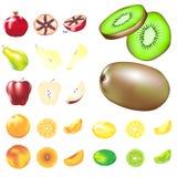 De verscheidenheid van het fruit in vectorillustratie stock illustratie