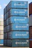 De Verschepende containers van HANJIN Stock Afbeelding