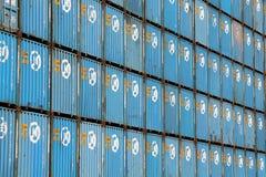 De Verschepende containers van HANJIN Royalty-vrije Stock Foto's