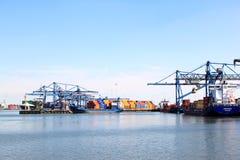 De verschepende haven van Rotterdam in Nederland Royalty-vrije Stock Foto's