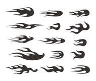 De verschillende abstracte inzameling van vlamsilhouetten Stock Afbeelding