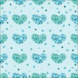 De verschillende blauwe harten van het kleurenmozaïek Stock Foto