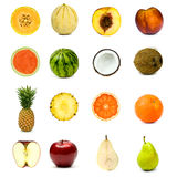 De verschillende die reeks van de fruitsamenstelling op wit wordt geïsoleerd Royalty-vrije Stock Foto