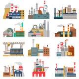 De verschillende fabrieken kleuren vlakke geplaatste illustraties Stock Foto's