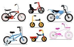 De verschillende fiets van typesjonge geitjes isoleerde vectorreeks vector illustratie
