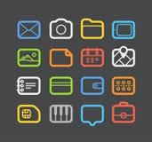 De verschillende geplaatste pictogrammen van het kleurenweb Stock Afbeeldingen
