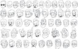 De verschillende grappige hoofden van beeldverhaal zwart-witte karakters stock illustratie