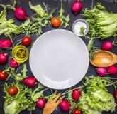 De verschillende ingrediënten voor salade, radijs, kersentomaten en kruiden, worden de platen rond opgemaakt, plaatsen tekst, kad Royalty-vrije Stock Afbeeldingen