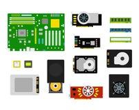 De verschillende inzameling van computerapparaten Stock Fotografie