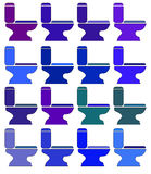 De verschillende kleuren van het pictogrammentoilet rooster Stock Foto's
