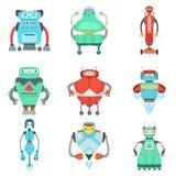 De verschillende Leuke Fantastische Inzameling van Robotskarakters Stock Foto's