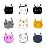 De verschillende leuke kleurrijke van de het beeldverhaalstijl van kattengezichten Vectorillustratie Stock Afbeeldingen
