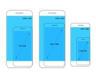 De verschillende moderne vergelijking van smartphoneresoluties Stock Afbeelding