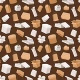 De verschillende open en dichte dozen pakken de naadloze patroonpakhuis het verschepen textuur van de container vectorillustratie stock illustratie