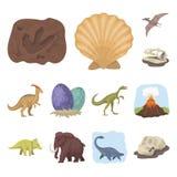 De verschillende pictogrammen van het dinosaurussenbeeldverhaal in vastgestelde inzameling voor ontwerp Voorhistorische dierlijke Royalty-vrije Stock Afbeeldingen
