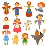 De verschillende poppenstuk speelgoed kleding van het karakterspel en de vod-pop van de landbouwbedrijfvogelverschrikker vectoril Royalty-vrije Stock Foto's