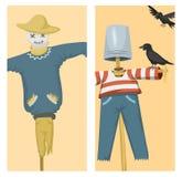De verschillende poppenstuk speelgoed kleding van het karakterspel en de vod-pop van de landbouwbedrijfvogelverschrikker vectoril stock illustratie