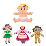 De verschillende poppenstuk speelgoed kleding van het karakterspel en de vod-pop van de landbouwbedrijfvogelverschrikker vectoril Royalty-vrije Stock Afbeelding