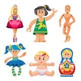 De verschillende poppenstuk speelgoed kleding van het karakterspel en de vod-pop van de landbouwbedrijfvogelverschrikker vectoril Stock Foto's