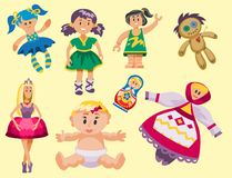 De verschillende poppenstuk speelgoed kleding van het karakterspel en de vod-pop van de landbouwbedrijfvogelverschrikker vectoril Stock Afbeeldingen