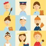 De verschillende set van tekens van mensenberoepen Royalty-vrije Stock Afbeeldingen