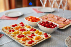 De verschillende snacks van het vingervoedsel met kaas en groenten Royalty-vrije Stock Fotografie
