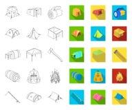 De verschillende soorten tenten schetsen, vlakke pictogrammen in vastgestelde inzameling voor ontwerp Tijdelijk schuilplaats en h stock illustratie