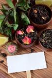 De verschillende soorten thee, munt en droog namen bloemblaadjes en een witte kaart toe royalty-vrije stock foto