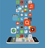 De verschillende stromen van kleurenpictogrammen aan een moderne smartphone Royalty-vrije Stock Foto