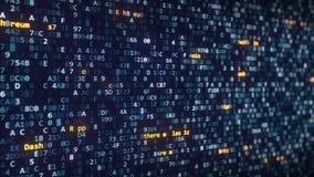 De verschillende titels die van cryptocurrencynamen onder veranderende hexadecimale symbolen op het computerscherm verschijnen stock videobeelden