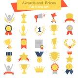 De verschillende toekenning en de prijzen kleuren vlakke geplaatste pictogrammen Royalty-vrije Stock Afbeeldingen