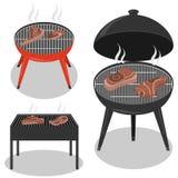 De verschillende types roosteren grills De grill van de barbecue die op witte achtergrond wordt geïsoleerdp BBQ traditionele part stock illustratie