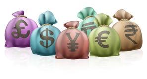 De verschillende zakken van het landgeld Stock Afbeeldingen