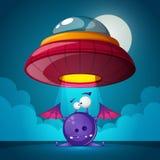De verschrikking van beeldverhaalkarakters UFOillustratie Het landschap van het beeldverhaal stock illustratie