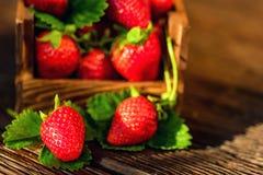 De verse aardbeien met bladeren in houten doos sluiten Stock Foto's