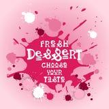 De verse Desserts kiezen Uw Koffie Logo Colorful Sweet Beautiful Delicious van de Smaakbanner Stock Foto's