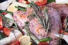 De verse die club van Turkije ` s met groenten op het fornuis worden voorbereid Royalty-vrije Stock Foto's