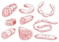 De verse en smakelijke pictogrammen van de vleeswaren rode schets Royalty-vrije Stock Afbeelding