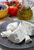 De verse jonge zachte witte Feta-kaas op zwarte plaat kruidde met droog oregokruid stock foto