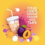 De verse Kleurrijke Banner van Juice Logo Healthy Vitamin Drink Bar stock illustratie