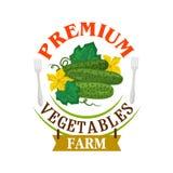 De Verse Komkommers van het landbouwbedrijf Gezond groentenembleem vector illustratie