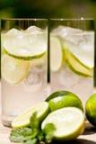 De verse koude verfrissing drinkt mineraalwatersoda met kalk en munt royalty-vrije stock afbeeldingen
