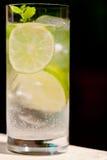 De verse koude verfrissing drinkt mineraalwatersoda met kalk en munt stock foto